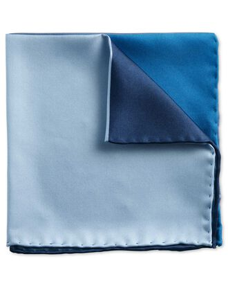 Navy and blue classic quarter plain pocket square