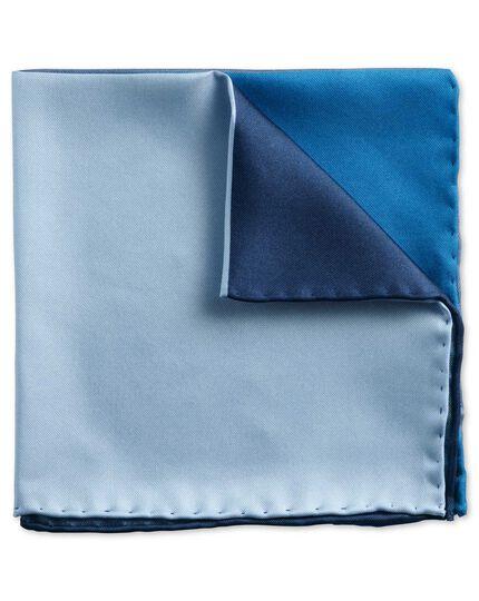 Pochette de costume classique bleu marine et bleue en quarts unis