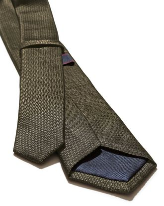 Olive silk slim textured semi plain classic tie