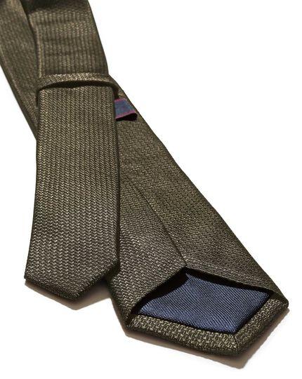 Olive silk slim textured semi plain classic tie