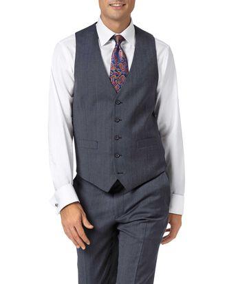 Gilet de costume business bleu clair en twill coupe ajustable