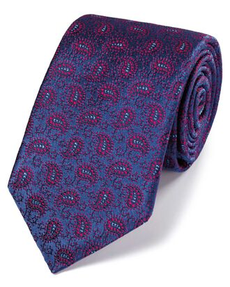 Blue and berry silk vintage paisley luxury tie