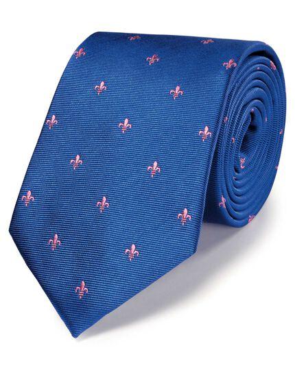 Royal and pink silk classic Fleur-de-Lys tie