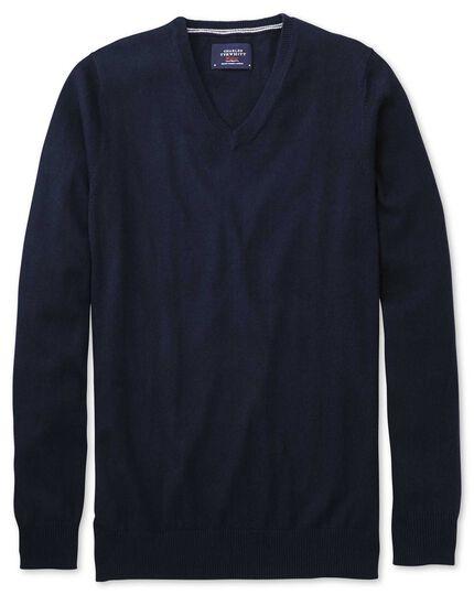 Navy cotton cashmere v-neck sweater