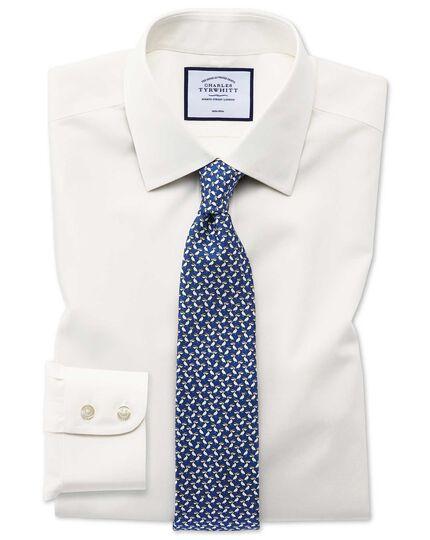 Classic fit non-iron poplin cream shirt