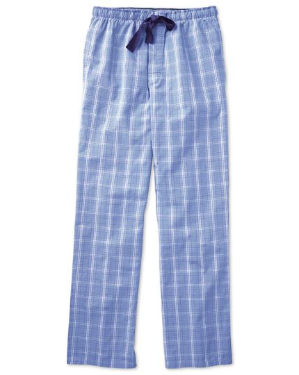 Royal blue Prince of Wales cotton pyjama trousers