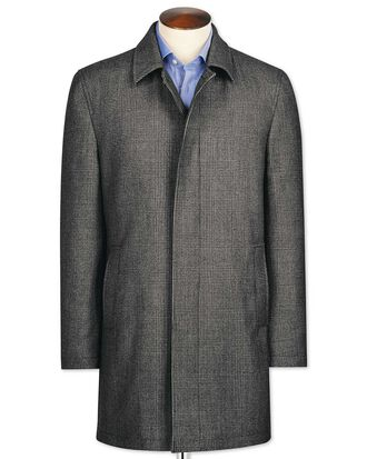 Grey check wool car coat