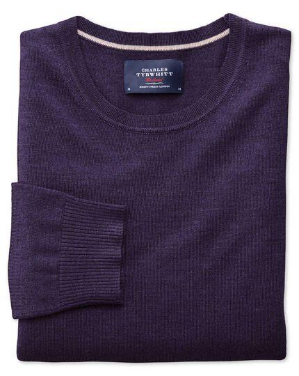 Purple merino wool crew neck jumper