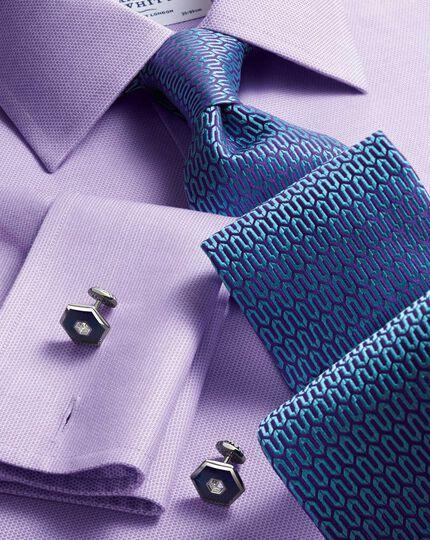 Slim fit non-iron micro spot lilac shirt