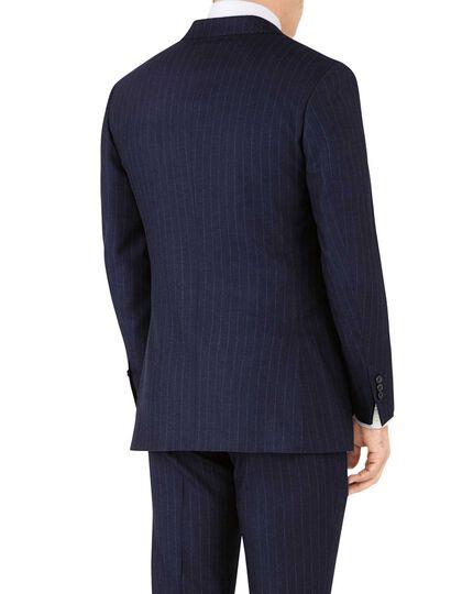 Navy stripe slim fit flannel business suit jacket