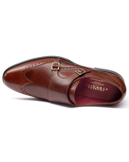 Chaussures à boucles Edmonton marron en cuir de veau avec bout fleuri rapporté