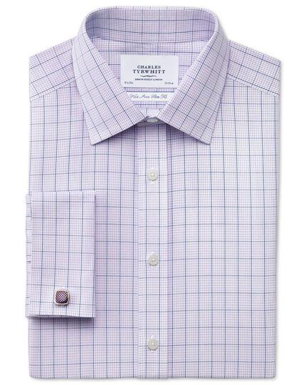 Slim fit non-iron check lilac shirt