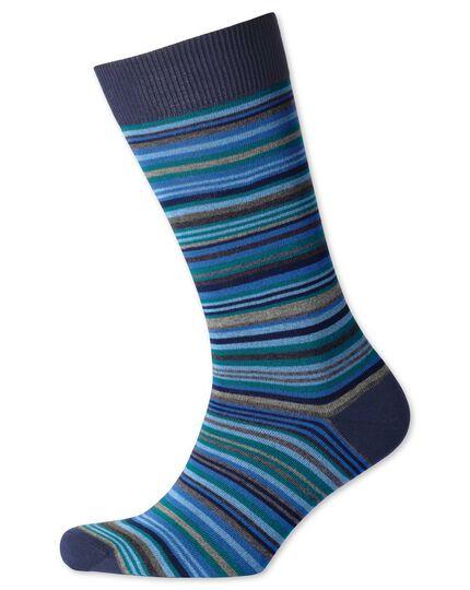 Chaussettes bleues à rayures multicolores
