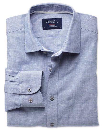 Extra Slim Fit Hemd aus Slub Baumwolle in Blau