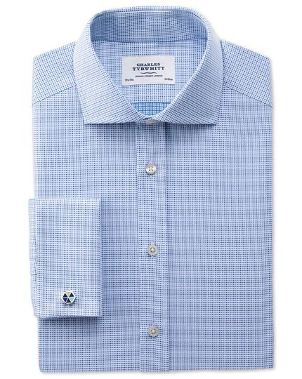 Extra slim fit spread collar Egyptian cotton textured blue shirt