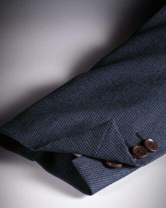 Blazer bleu en flanelle de laine italienne slim fit à pied-de-poule