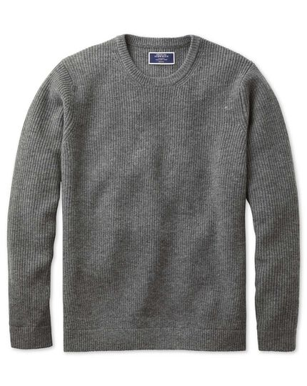 Grey lambswool rib crew neck sweater