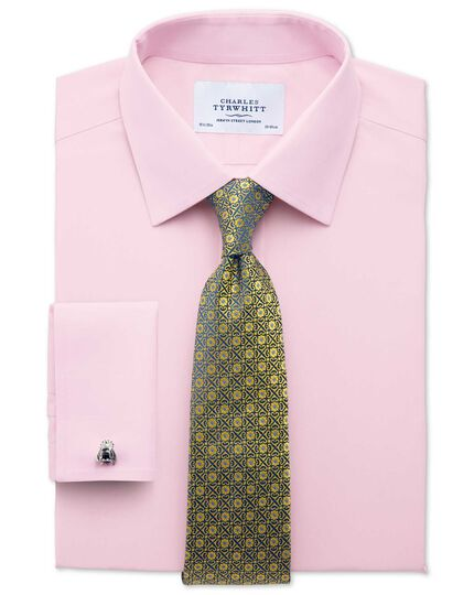 Classic fit non-iron poplin light pink shirt