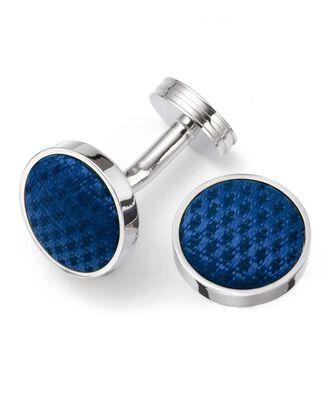 Blue round silk cuff links