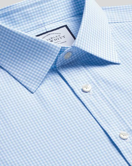 Extra slim fit small gingham sky blue shirt