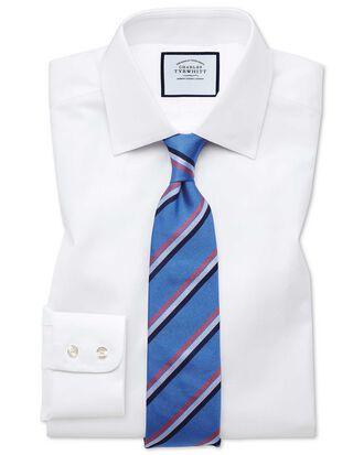 Chemise blanche slim fit à chevrons fins