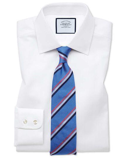 Slim fit fine herringbone white shirt
