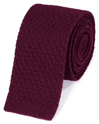 Burgundy wool slim knitted classic tie