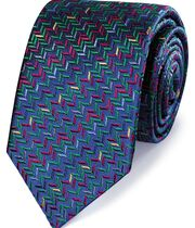 Navy multi silk zig zag English luxury tie