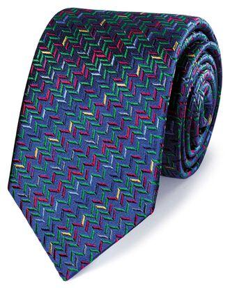 Cravate de luxe bleu marine en soie anglaise multicolore à motif zigzag