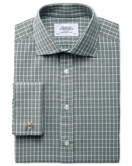 Classic fit Prince of Wales basketweave green shirt