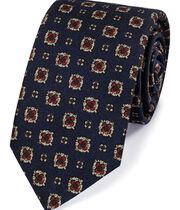 Navy and red wool printed Italian luxury tie
