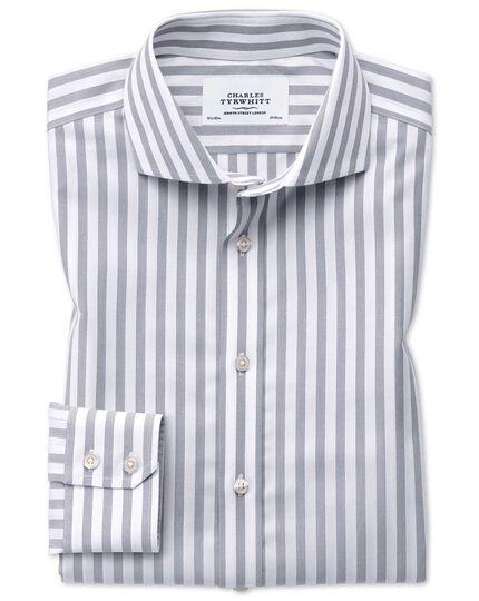 Extra slim fit spread collar non-iron wide stripe grey shirt