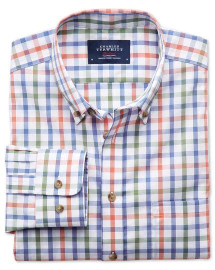Extra slim fit non-iron poplin green and orange check shirt