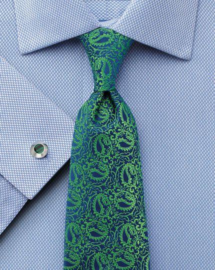 Classic fit non-iron diamond weave sky blue shirt