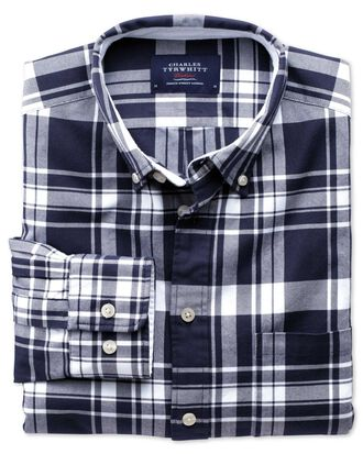 Slim fit navy and white check washed Oxford shirt