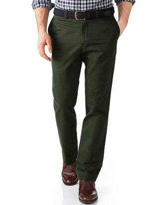 Dark green slim fit flat front weekend chinos