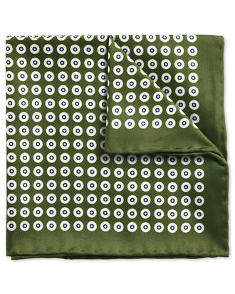 Olive green and sky blue classic spot pocket square