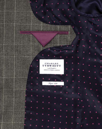 Grey slim fit check business suit jacket