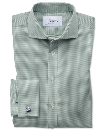 Extra slim fit spread collar non-iron puppytooth olive shirt