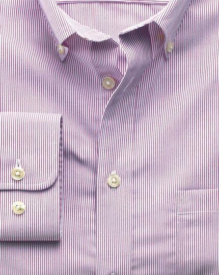 Classic fit non-iron poplin berry stripe shirt