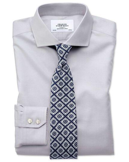 Slim fit cutaway non-iron twill grey shirt