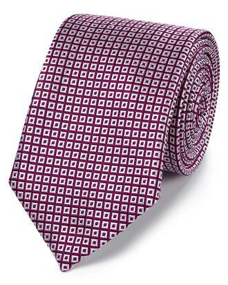 Cravate classique myrtille et blanche en soie à carrés effet croisillons