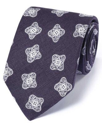 Navy linen English luxury medallion tie