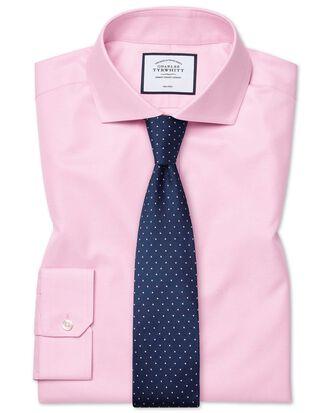 Bügelfreies Super Slim Fit Twill-Hemd mit Haifischkragen in Rosa