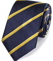 Klassische Seidenkrawatte in Marineblau und Gold mit strukturierten Streifen