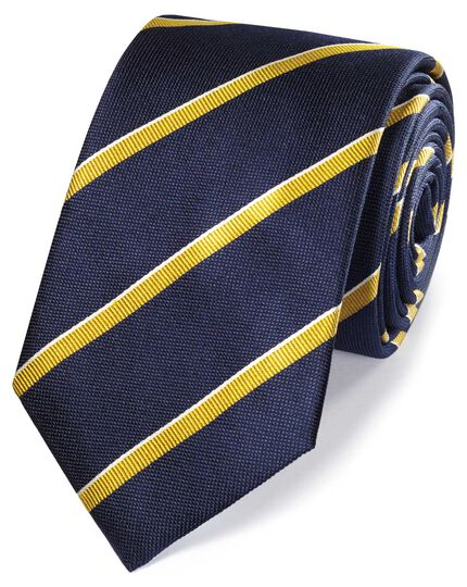 Navy and gold silk textured stripe classic tie