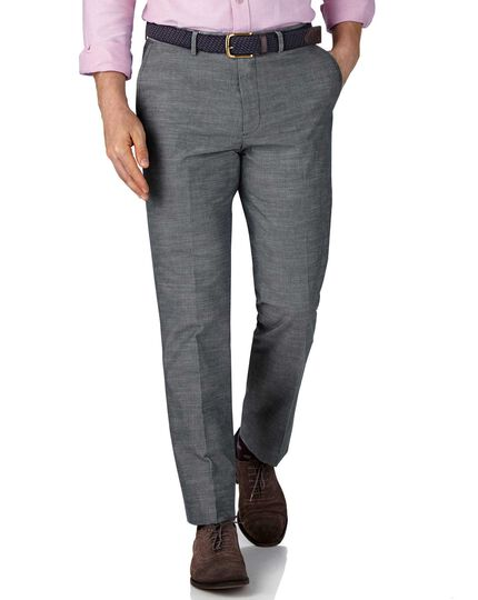 Slim Fit Chambray-Hose in Blau