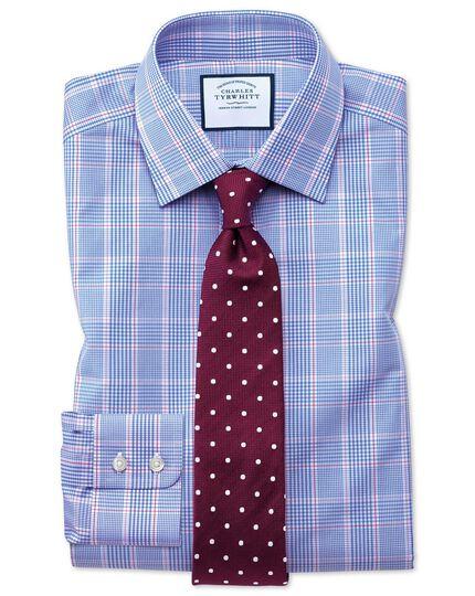 Extra Slim Fit Hemd in Blau mit Prince-of-Wales-Karos