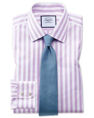 Extra slim fit non-iron Jermyn street stripes purple shirt
