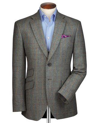 Veste verte en tweed slim fit à carreaux et bordure luxe